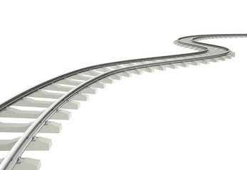 Illustration bend, turn railroad isolated on white background