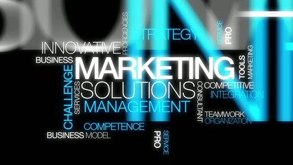 Marketing solutions management words text tag cloud