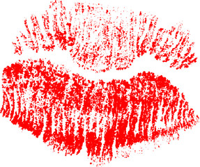 lips imprint from red small dots on white