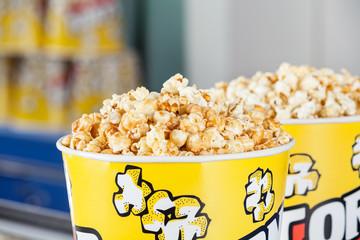Roasted Popcorns In Buckets At Cinema