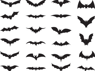 Bats collection isolated on white