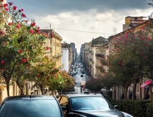 Street scene in Catania, Sicily, Italy.