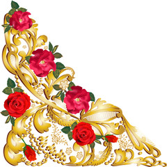 gold decorated corner ornament element with roses