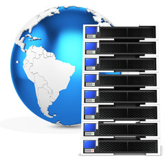 3d server blade units with earth globe