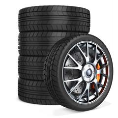 3d car wheels stack