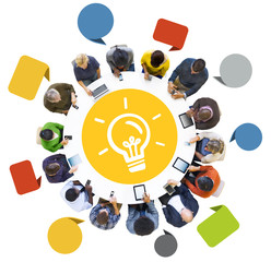 Group People Using Digital Devices Light Bulb Concept