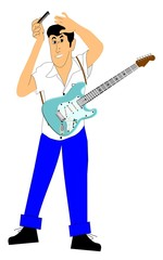 teen playing guitar