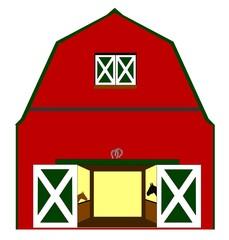 barn with horses
