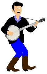 young man playing banjo