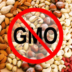 Assortment of tasty nuts without gmo