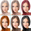 Concept of coloring hair. Portraits of beautiful woman with