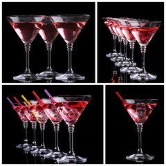 Collage of different cocktails on black background