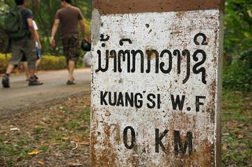 Kuang si water fall mile stone
