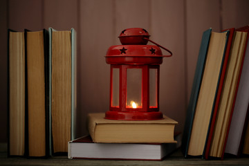 Books and decorative lantern