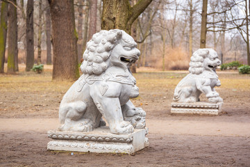 Chinese stone statues in the Royal Bath park, Warsaw