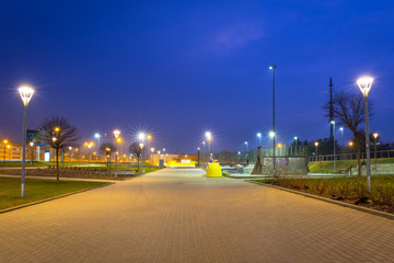 Park pathway in Gdansk at night, Poland