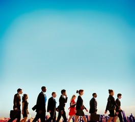 Multiethnic Businesspersons Walking Rush Hour City Concept
