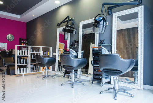 canvas print picture Interior of empty modern hair and beauty salon