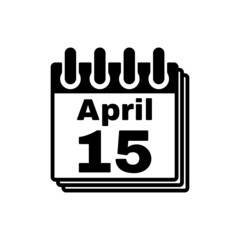 The Calendar 15 april icon. Tax day