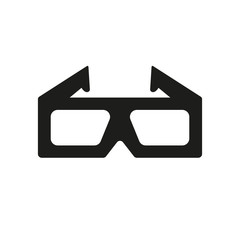 The 3d movie icon. 3D Glasses symbol. Flat
