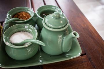 Thai  noodle seasonings on table