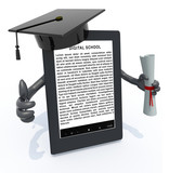 ebook reader with arms, Graduation Cap and Diploma