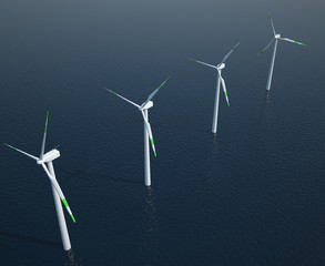Wind turbines in the ocean. 3d illustration
