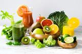 Fototapety Fresh vitamins, citrus juice and smoothie with ingredients horiz