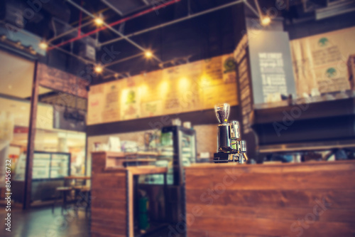 Fotobehang Koffie Blur coffee shop- vintage effect style pictures