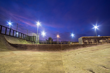 Skate park in Gdansk at dusk, Poland.