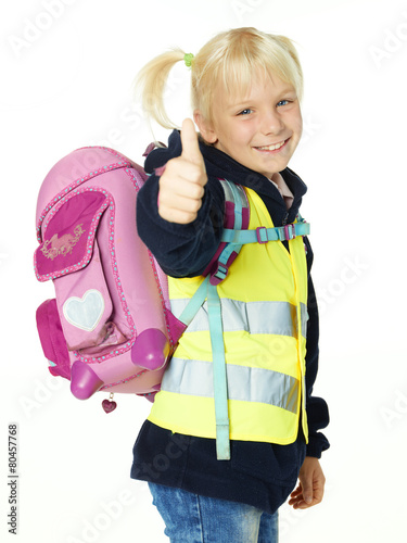 Cute child with reflective vest showing thumbs up - 80457768