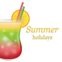 Summer fruit cocktail with ice and orange isolated on white back