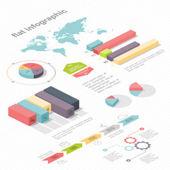 Flat 3d isometric infographic for your business presentations.