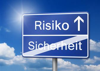 Auf nummer sicher Risiko eingehen Schild Hintergrund