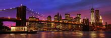 "Постер, картина, фотообои ""Brooklyn Bridge and Manhattan at sunset"""