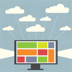 Monitor with clouds on blue background