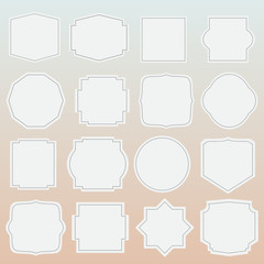 set of elegance blank grey labels with border
