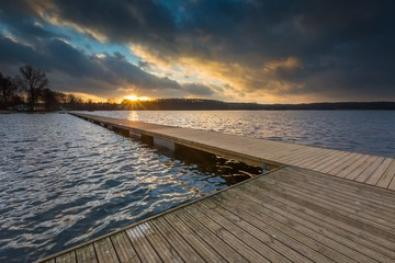 Lake landscape with jetty