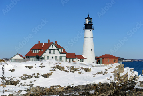 Portland Head Lighthouse in winter, Cape Elizabeth, Maine - 80460150