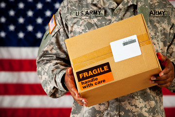 Soldier: Holding a Package with Blank Label