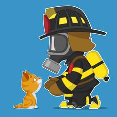 firefighter and kitten