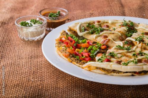 Fotobehang Brood Eastern food. Arab food. meat pie