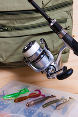 Fishing rod and reel with silicone baits.