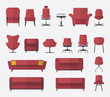 Flat design  icon set of chair and sofa in marsala color. - 80462559