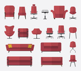 Flat design  icon set of chair and sofa in marsala color.
