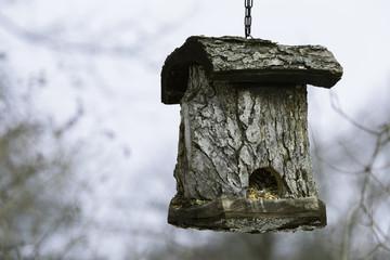 Log bird house, unique craftsmanship.