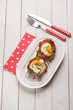 speck bowl with eggs and chive