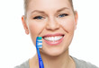 Dental cure. Cavity protection. Happy female with toothy smile