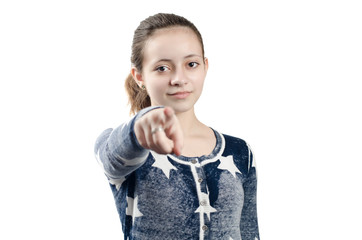 teen girl pointing her finger