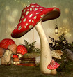 Leinwanddruck Bild - Elf fantasy garden